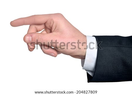 Man hand grab nothing on white - stock photo