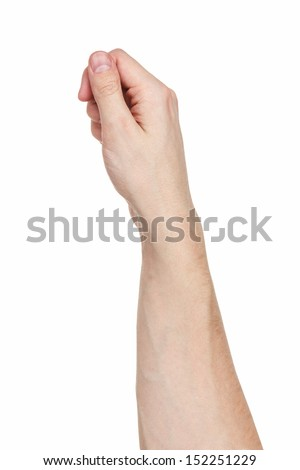 man hand hands to hold paper card, isolated on white - stock photo