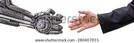 man hand  handshake with cy-ber robot isolated on white background. - stock photo
