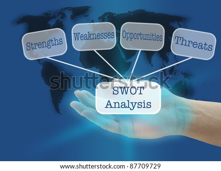 man hand hold business SWOT concept with world map background