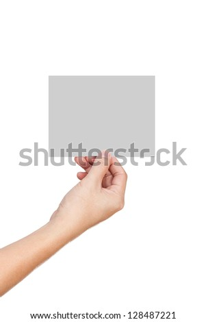 man hand hold the empty card - stock photo