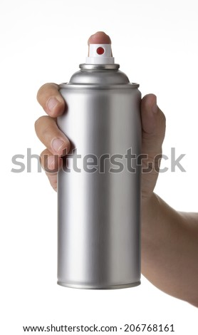 man hand holding a blank aluminum spray paint Bottle Can isolated on white background, young male hand spraying an Metal aerosol can - stock photo