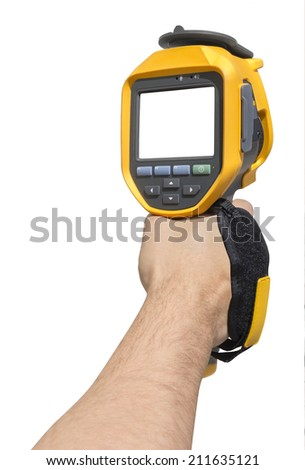 Man hand holding a thermal camera isolated on white background with Clipping Path - stock photo
