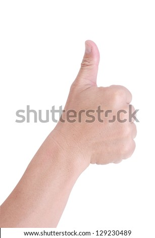 Man hand holding a thumb on a white background. - stock photo