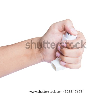 man hand holding asthma inhaler isolated on white background - stock photo