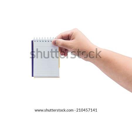 man hand holding blank paper notebook isolated on white background - stock photo