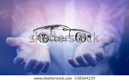 man hand holding car on white background