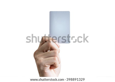 Man hand holding credit card,ATM card , isolated on white background - stock photo