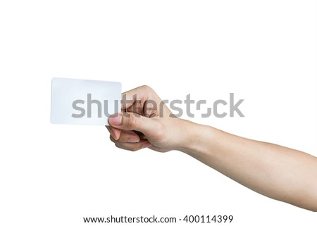 Man hand holding credit card,ATM card , isolated on white background