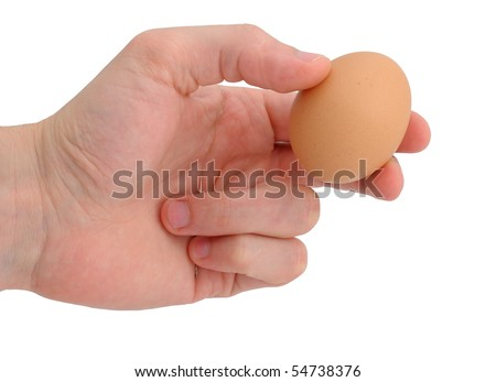 Man hand holding egg and needle