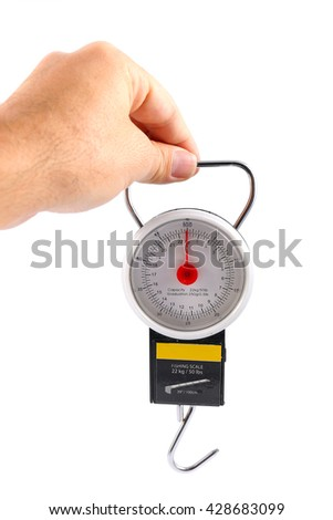 man hand holding fishing scale isolated on white background