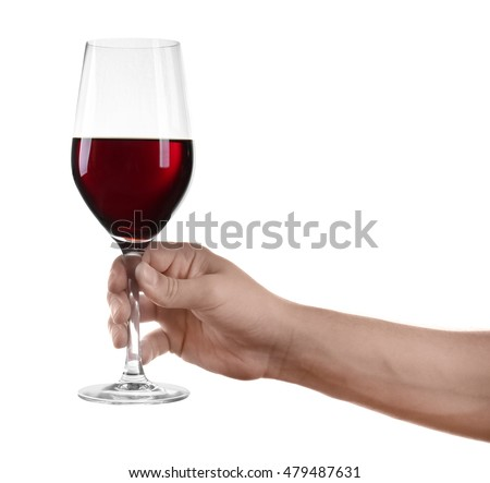 Man hand holding glass of red wine on white background