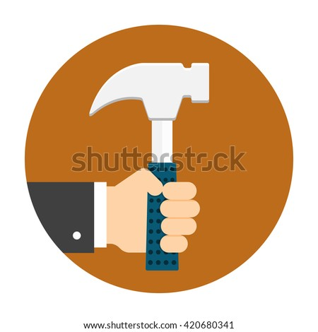 Man hand holding hammer. Illustration for labor day