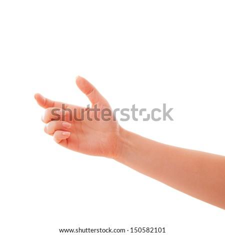man hand holding isolated - stock photo