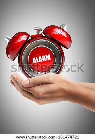 Man hand holding object ( alarm bell ) High resolution  - stock photo