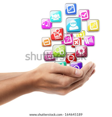Man hand holding object ( APPS icons )  isolated on white background. High resolution  - stock photo