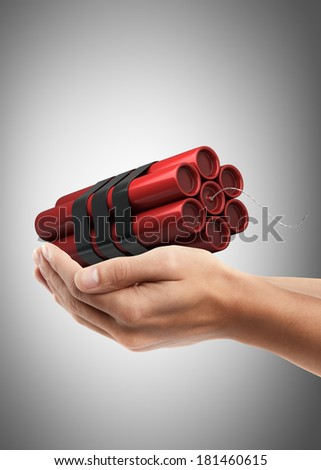 Man hand holding object ( Bomb )  High resolution  - stock photo