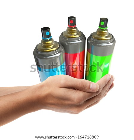 Man hand holding object ( color spray cans )  isolated on white background. High resolution  - stock photo
