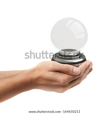 Man hand holding object ( empty crystal ball )  isolated on white background. High resolution  - stock photo