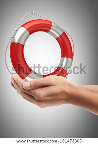 Man hand holding object ( Red lifebelt ) High resolution  - stock photo