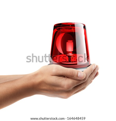 Man hand holding object ( red siren )  isolated on white background. High resolution   - stock photo
