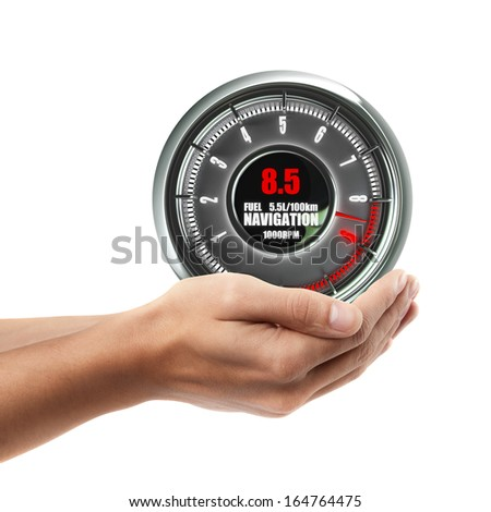 Man hand holding object ( tachometer )  isolated on white background. High resolution