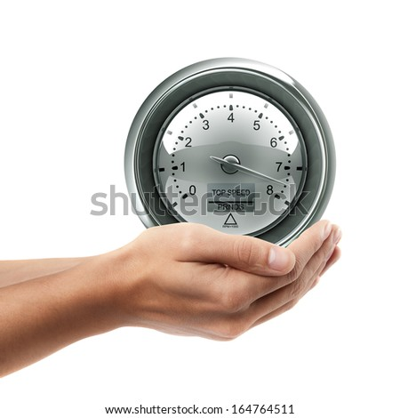 Man hand holding object ( tachometer )  isolated on white background. High resolution  - stock photo