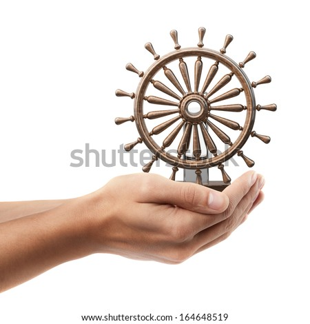 Man hand holding object ( wooden steering-wheel )  isolated on white background. High resolution   - stock photo