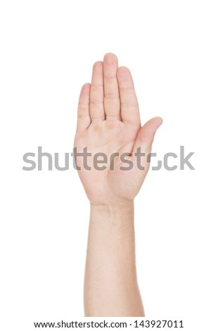 Man hand holding on a white background. - stock photo
