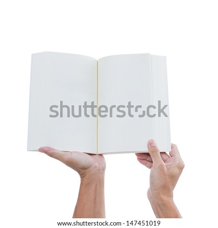 Man hand holding open book isolated on white background - stock photo
