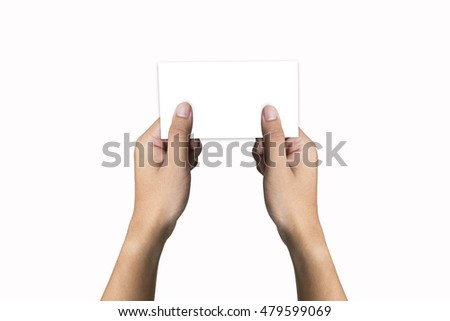 man hand holding paper on background white
