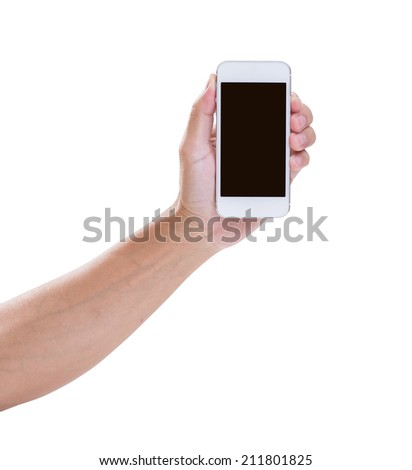 Man hand holding smart phone isolated on white background, clipping path - stock photo