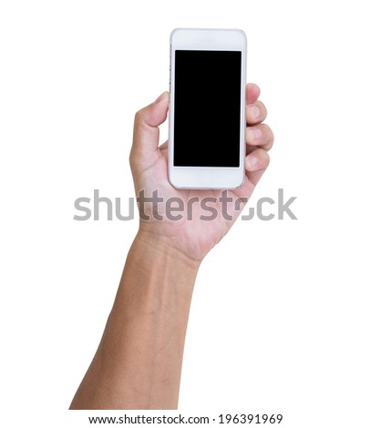Man hand holding smartphone isolated on white background, clipping path - stock photo