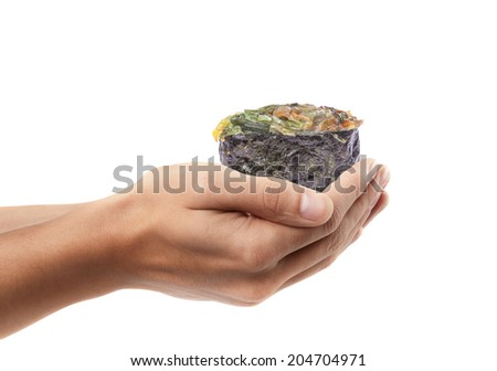 Man hand holding sushi isolated on white background. High resolution