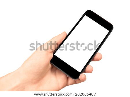 Man hand holding the black smartphone with blank screen, isolated on white background, similar to iphon  - stock photo