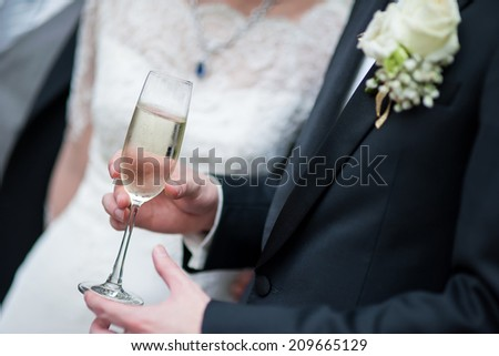 Man hand holding the champagne glass - stock photo