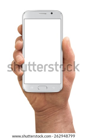 Man hand holding the smartphone, isolated on white background - stock photo