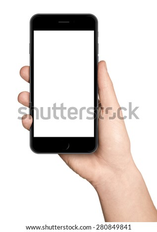 Man hand holding the smartphone, similar to iphon 6 plus - stock photo