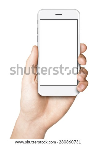 Man hand holding the white smartphone, similar to iphon 6  - stock photo