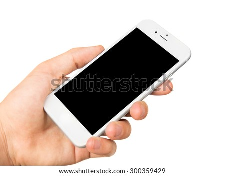 Man hand holding the white smartphone with blank screen, isolated on white background - stock photo