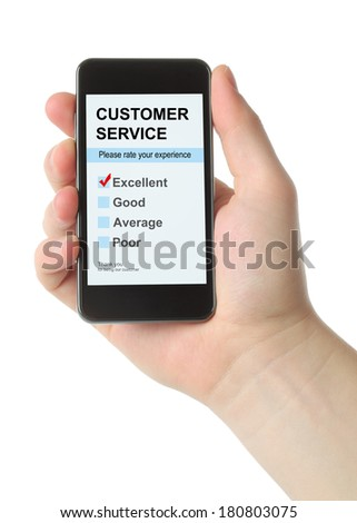 Man hand holds smart phone with customer service satisfaction survey on white background - stock photo