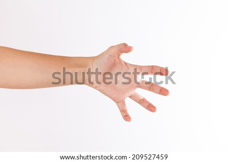Man hand in claw gesture on a white isolated background - stock photo