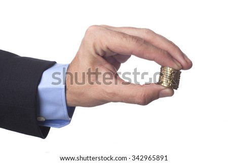 Man Hand in Suit Holding Golden Coins Isolated on White Background - stock photo