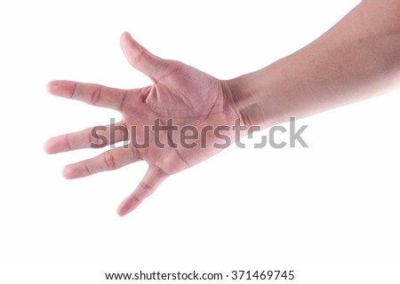 Man hand is showing five fingers isolated on white background - stock photo