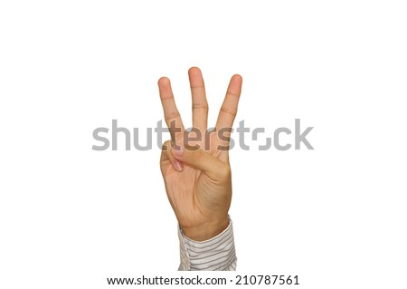 Man hand is showing three fingers  isolated background. - stock photo