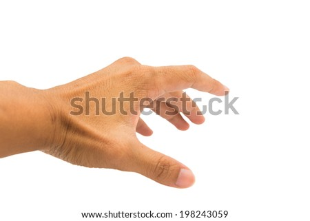 Man hand isolated on white