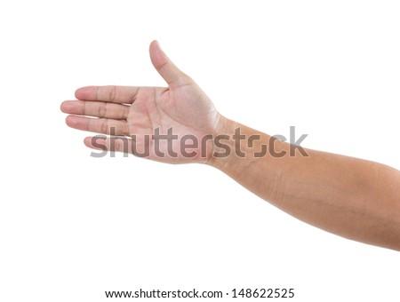 Man hand isolated on white background - stock photo