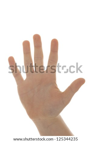 man hand making sign. Isolated on white background - stock photo
