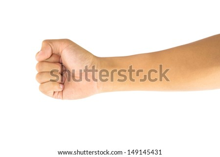 Man hand or sign of Rock Scissor Paper games isolated on white background - stock photo
