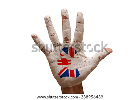 man hand palm painted british money pound symbol - stock photo